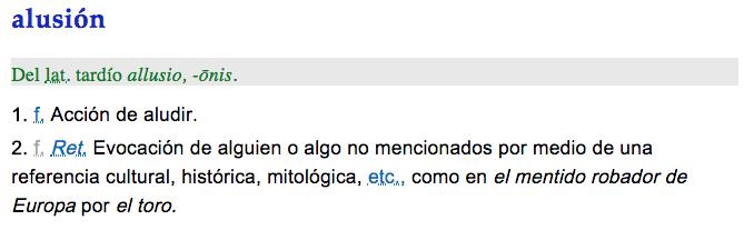 Definición de Alusión, RAE, Sinónimos de alusión, significado de alusión