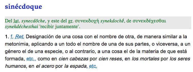 Sinécdoque, definición RAE, significado, ejemplos