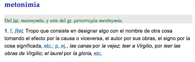 definición metonimia, ejemplos