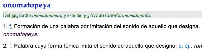 RAE definición de onomatopeya, figura literaria onomatopeya, recurso, ejemplo, significado, concepto, definición